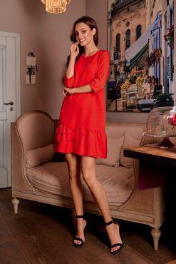 Trapecijos formos suknelė su raukiniais BELUTI red trapeze dress