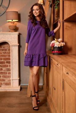 Trapecijos formos suknelė su raukiniais BELUTI violet trapeze dress