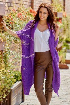 Vienspalvis asimetrinis kardiganas JOLA violet violetinis one size cardigan knitted 1