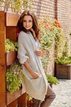 Vienspalvis asimetrinis kardiganas JOLA BEIGE cardigan knitted