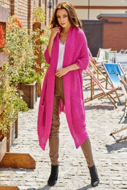 Vienspalvis asimetrinis kardiganas JOLA PINK one size cardigan knitted ryskus