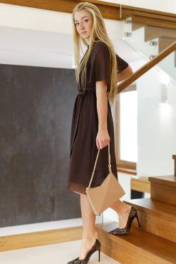Klasikinė suknelė MOKO CHOCO S-XL classic dress ruda sokoladine