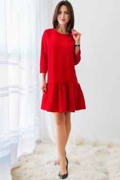 Trikotažinė trapecijos suknelė IZABELA red raudona