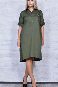Marškinių stiliaus suknelė plus DORA KHAKI dress plus size dideliu dydziu didesnio Платье в стиле рубашки
