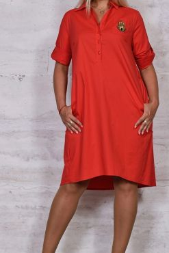 Marškinių stiliaus suknelė plus DORA RED dress plus size raudona suknele shirt style