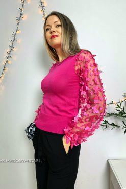 fuksijos spalvos megztinis drugeliais puostomis rankovemis | madosvardas.lt