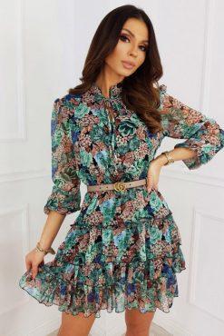 """Lengvo gėlėto audinio suknelė """"Luxe green flowers"""""""