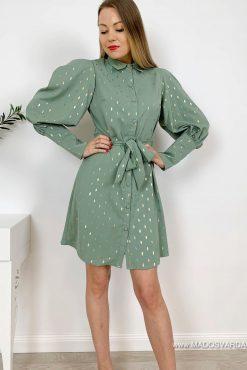 Puošni suknelė su pūstomis rankovėmis GLORIA green | madosvardas.lt