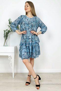 Plono gėlėto audinio suknelė