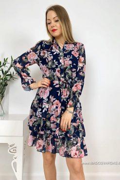 Plono gėlėto audinio suknelė Deluxe DARK BLUE flowers | Madosvardas.lt