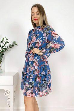 Plono gėlėto audinio suknelė Deluxe Blue flowers | madosvardas.lt