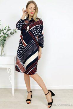 """Raštuoto audinio marškinių tipo suknelė """"DELTA""""   madosvardas.lt"""