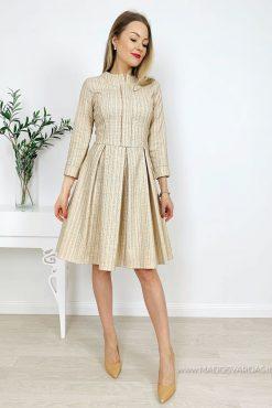 Puošnaus audinio suknelė GOLD SATI | madosvardas.lt