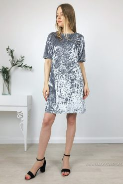 """Glamžyto veliūrinio audinio suknelė """"Tiffany Silver"""