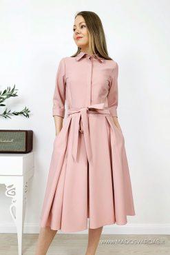Stilinga klasikinė klostuota suknelė ADRIANA POWDER