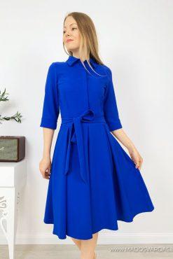 Stilinga klasikinė klostuota suknelė ADRIANA REAL BLUE